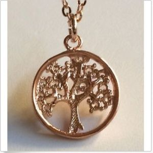 """Unbranded Jewelry - Rose Gold Cubic Zirconia Tree of Life Necklace 20"""""""